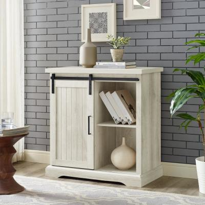 32 in. White Oak Modern Farmhouse Accent Cabinet