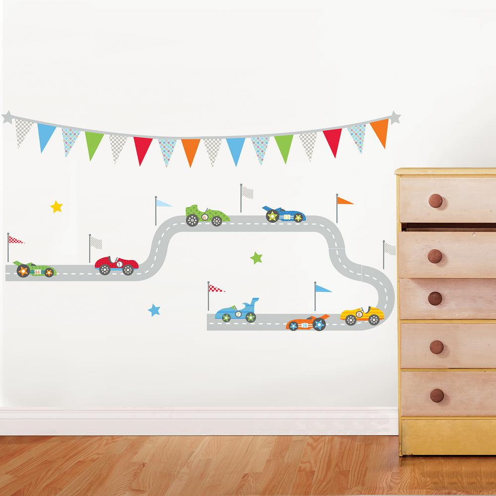 Wall Pops Multi Race Car Superstar Wall Decal, Multicolor Start your engines. This wall art kit will grow with your child, as it can be rearranged to make different road shapes or car order. Race Car Superstar Wall Art Kit Wall Art Kit contains 56-pieces on 2 sheets that measure 17.25 in. x 39 in. Color: Multicolor.