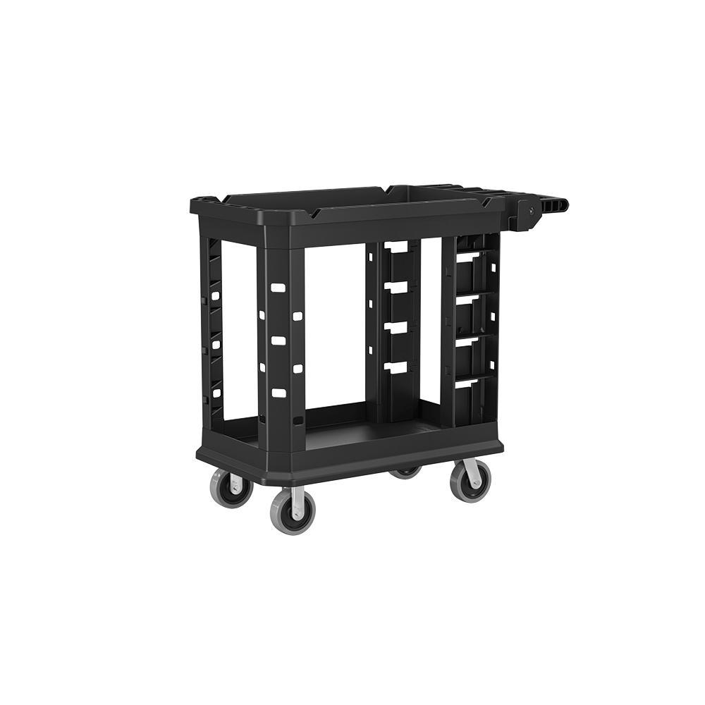 Suncast Commercial Standard Duty 19.5 in. 2-Shelf Utility Cart in Black