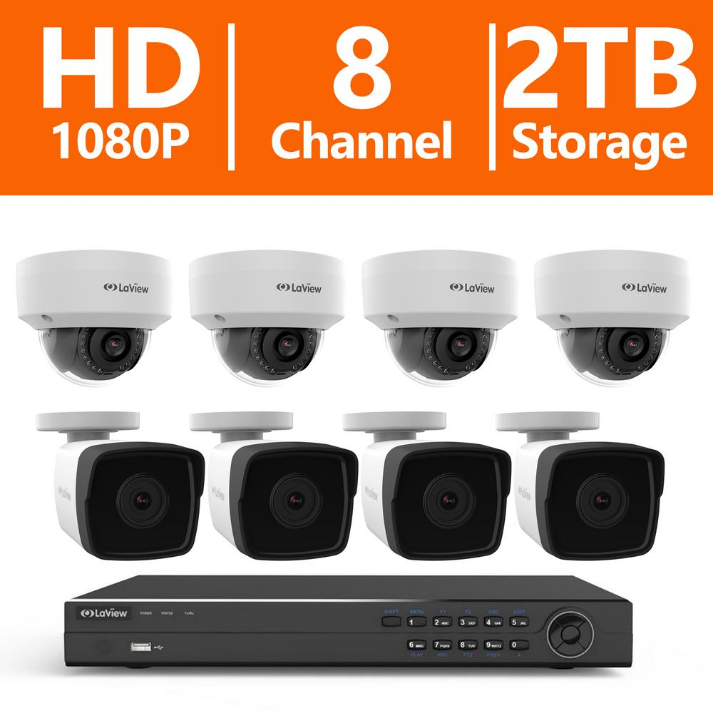 LaView 8-Channel Full HD IP Indoor/Outdoor Surveillance 2TB NVR ...