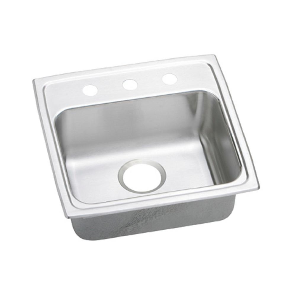 elkay lustertone drop in stainless steel 19 in  3 hole single bowl kitchen elkay lustertone drop in stainless steel 19 in  3 hole single bowl      rh   homedepot com