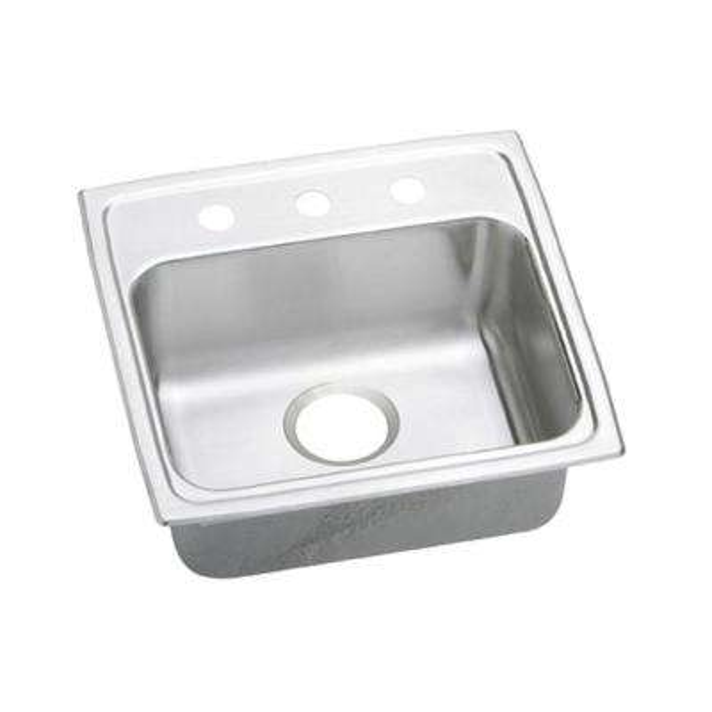 Lustertone Drop-In Stainless Steel 19 in. 3-Hole Single Bowl Kitchen Sink