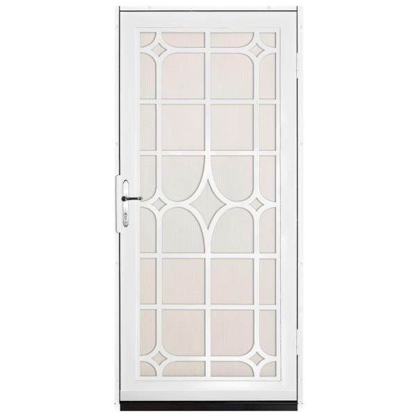 36 in. x 80 in. Lexington White Surface Mount Steel Security Door with Almond Perforated Screen and Nickel Hardware