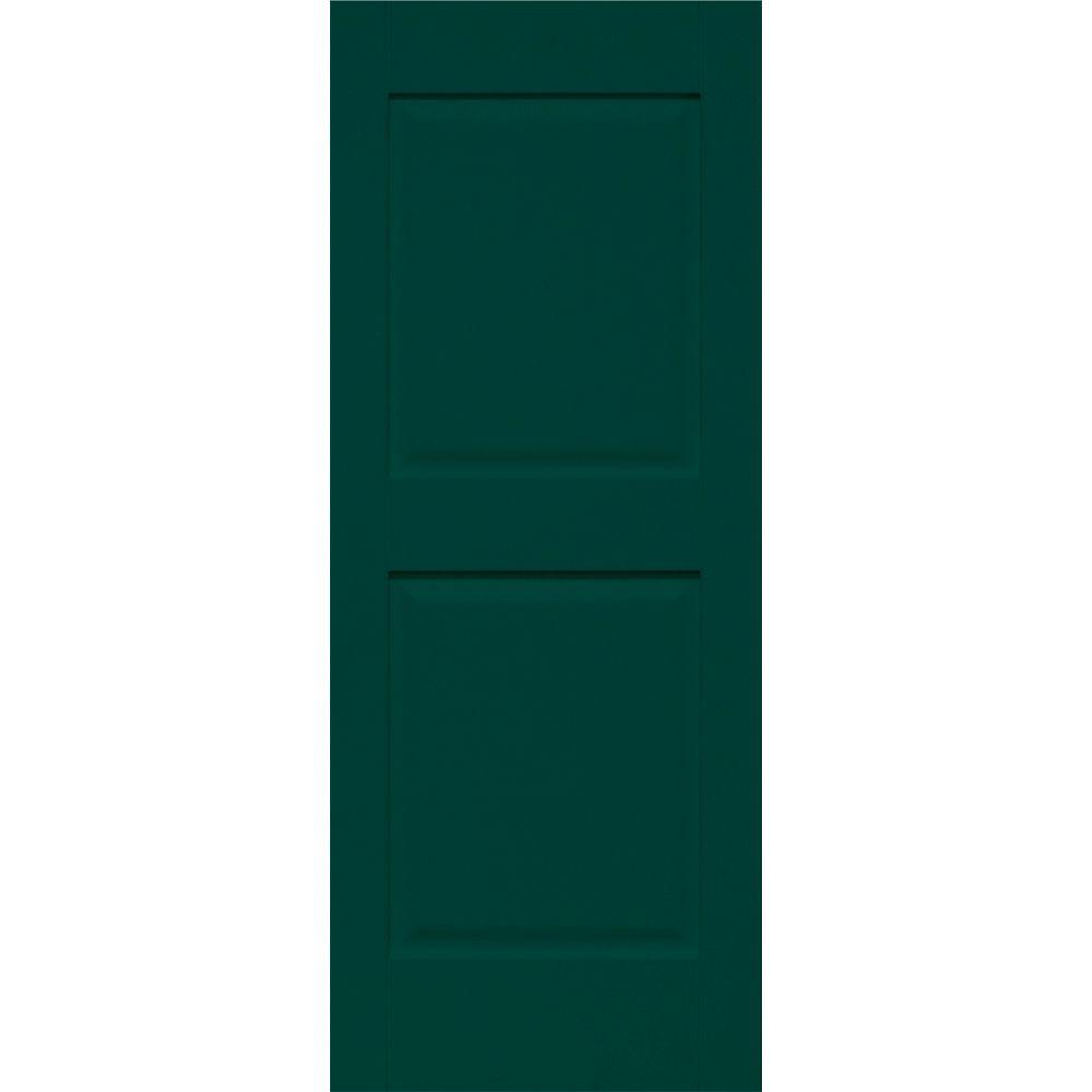 Home Fashion Technologies Plantation 14 in. x 78 in. Solid Wood Panel Shutters Behr Hidden Forest-DISCONTINUED