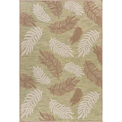 Retreat Green 7 ft. 9 in. x 9 ft. 9 in. Tropical Leaf Botanical Indoor/Outdoor Area Rug