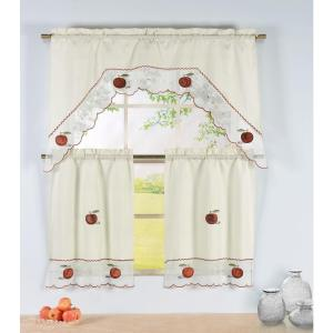 Semi Opaque Apple Time Embroidered 3 Piece Kitchen Curtain Tier And Valance  Set