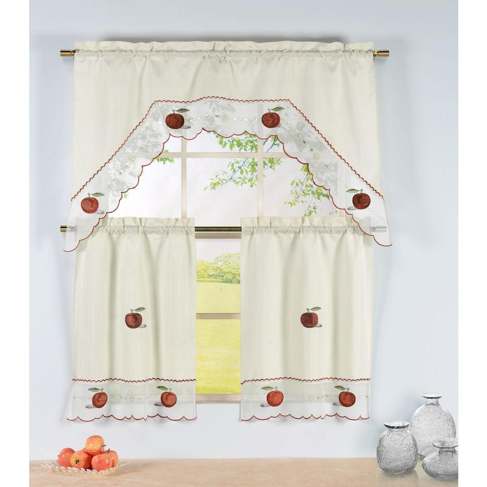 Apple Kitchen Curtains   Window Elements Semi Opaque Apple Time Embroidered 3 Piece Kitchen
