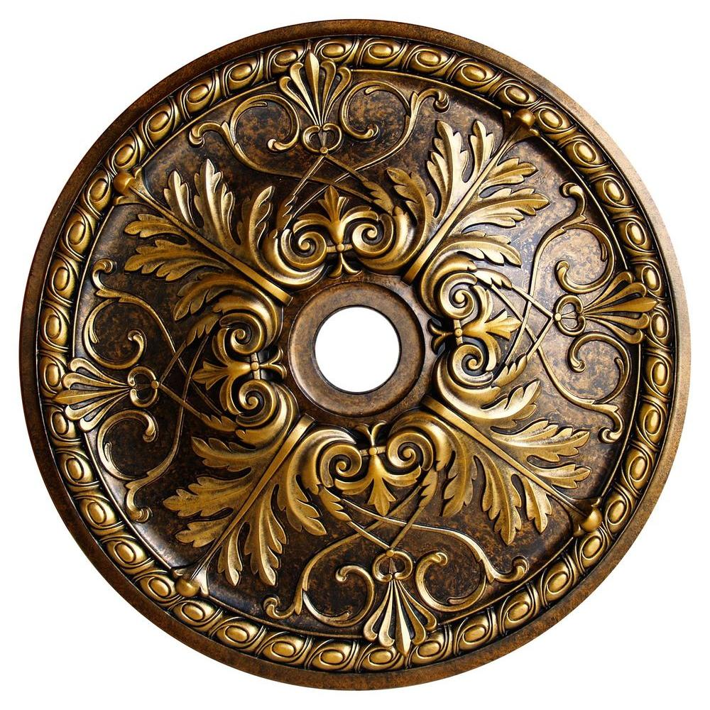 Fine Art Deco Golden Passion, Bronze & Gold, 32-5/8 in. Polyurethane Hand Painted Ceiling Medallion