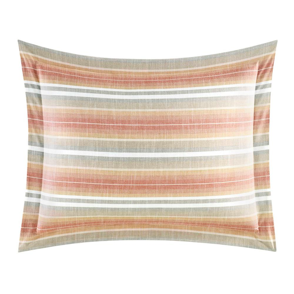 Sunrise Stripe Coral Standard Sham, Orange Add a tropical touch to your bedding ensemble with the Tommy Bahama Sunrise Stripe coordinating sham. The coral stripes will bring a necessary pop of color to your bed. The all-cotton sham coordinated back to the rest of the Sunrise Collection. Shams are machine washable and feature an envelope closure. Standard Sham (20 in. x 26 in.). Color: Orange.