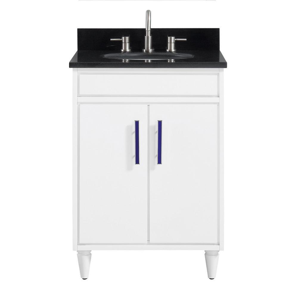 Avanity Layla 25 in. W x 22 in. D x 35 in. H Bath Vanity in White with Granite Vanity Top in Black with White with Basin