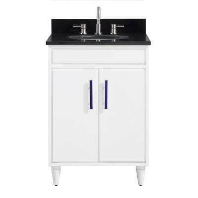 Layla 25 in. W x 22 in. D x 35 in. H Bath Vanity in White with Granite Vanity Top in Black with White with Basin