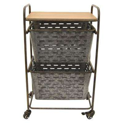 18.5 in. x 12 in. Metal and Wood Storage Rack in Gray