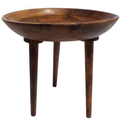 Brown Round Wooden Folding Table with Tapered Legs