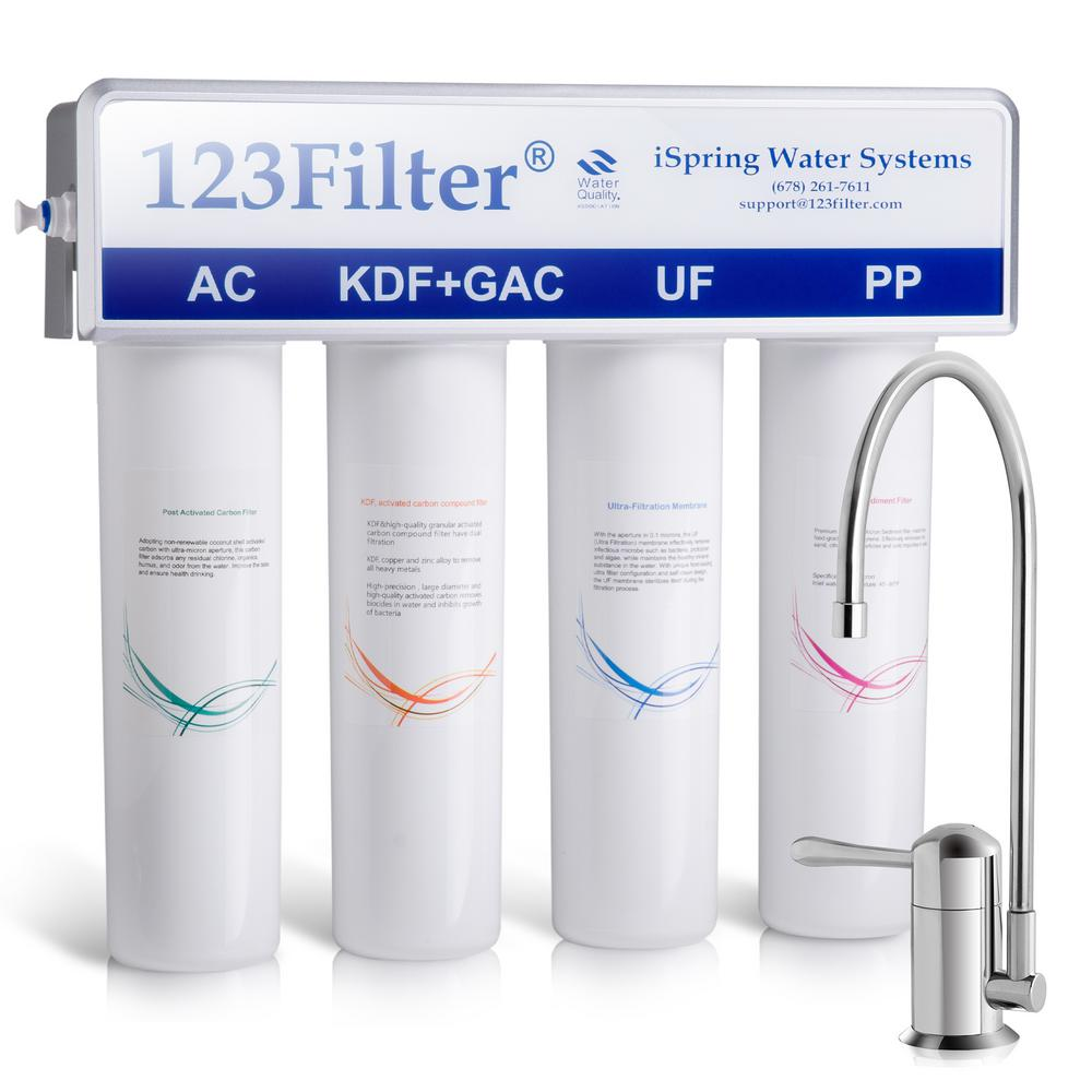 ISPRING 4-Stage 0.1 Micron Ultra-Filtration Under Sink / Inline Water Filtration System with No-Pressure Chrome Faucet
