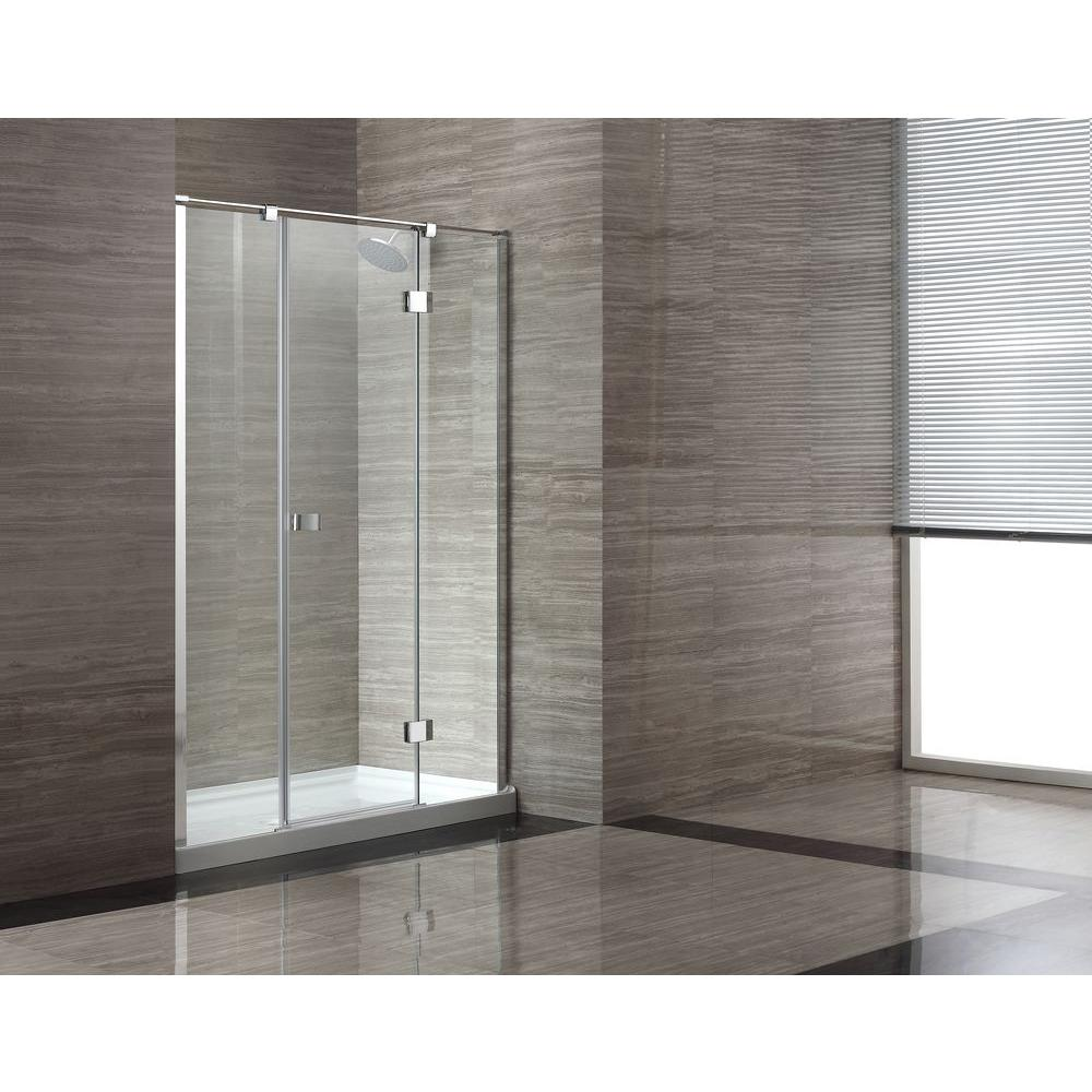 OVE Decors 32 in. x 60 in. x 80 in. Shower Enclosure in Chrome with Clear Glass and White Acrylic Base