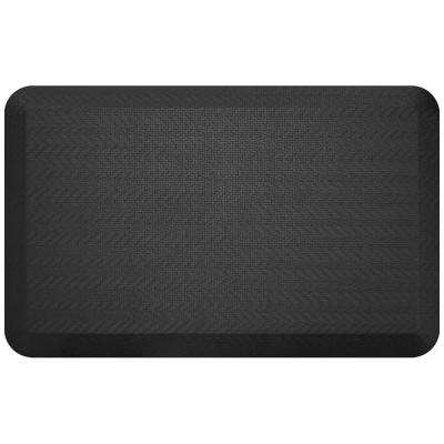 Designer Sisal Black 20 in. x 32 in. Anti-Fatigue Comfort Kitchen Mat