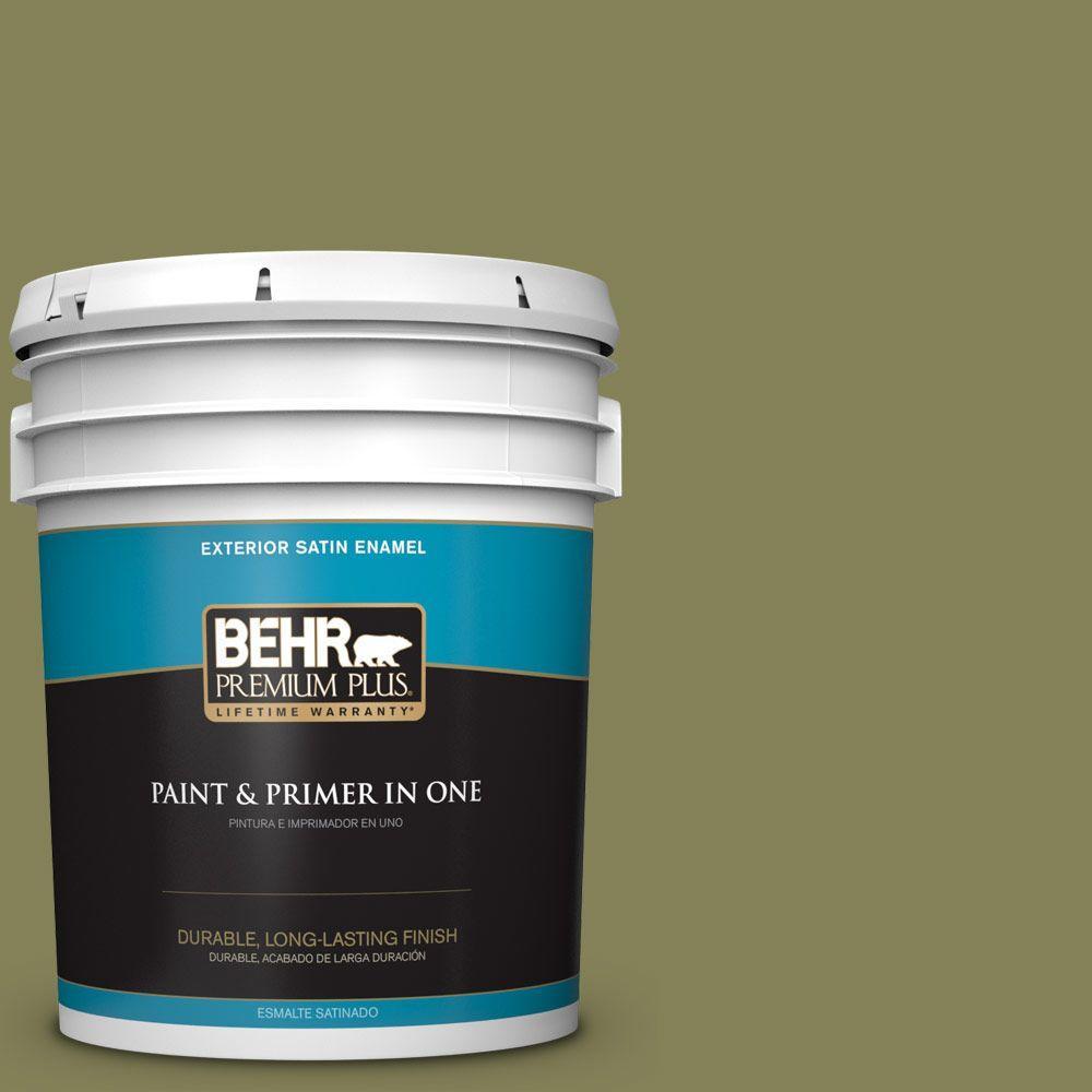 BEHR Premium Plus 5-gal. #PMD-47 Martini Olive Satin Enamel Exterior Paint