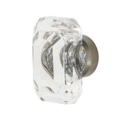 Baguette Cut Clear Crystal 1-9/16 in. Cabinet Knob in Satin Nickel