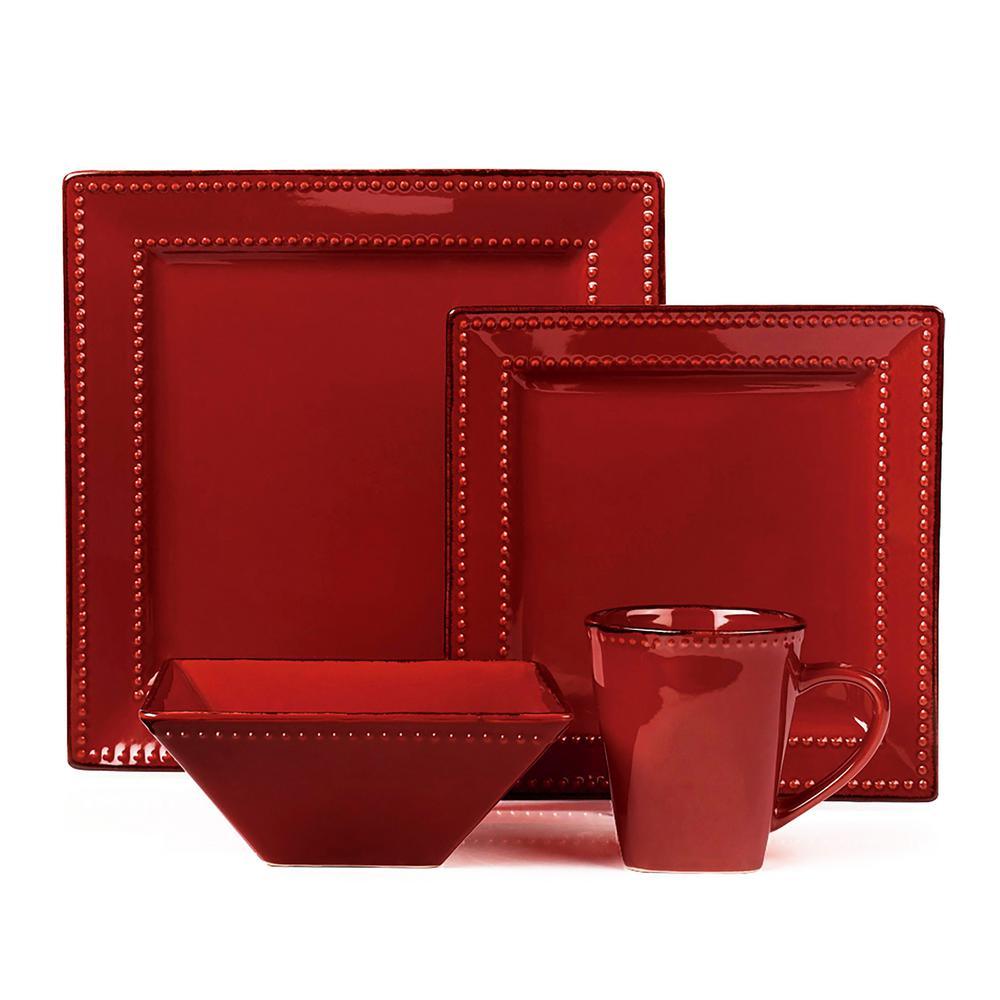 16-Piece Red Square Beaded Stoneware Dinnerware Set