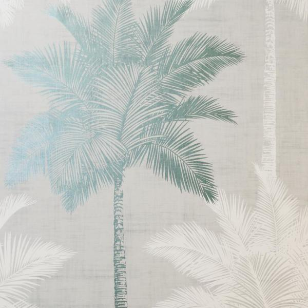 Palm Luxe Grey and Duck Egg Wallpaper