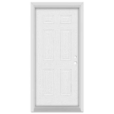 36 in. x 80 in. Infinity Left-Hand Inswing 6 Panel Finished Fiberglass Oak Woodgrain Prehung Front Door