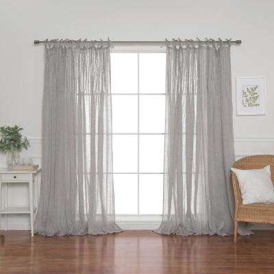 84 in. L Grey Faux Linen Tie Top Pinch Pleat Curtain