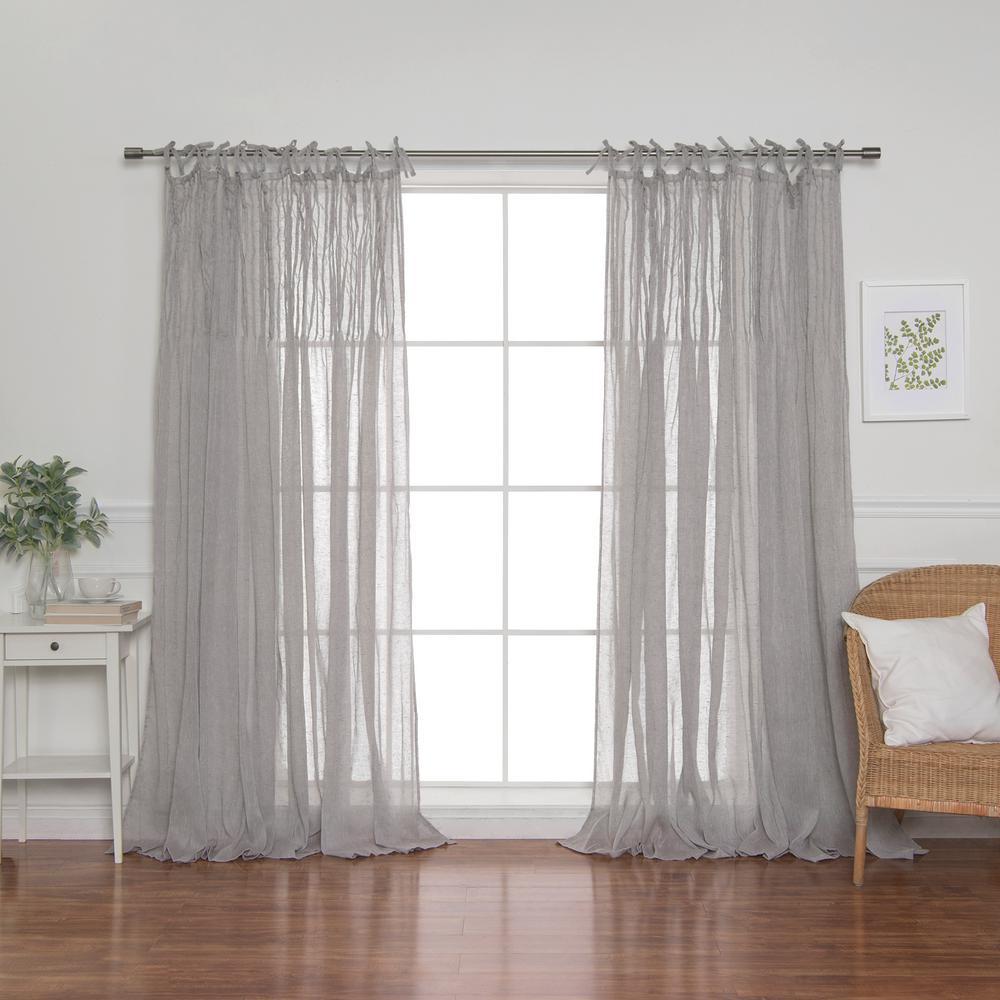84 in. L Grey Faux Linen Tie Top Pinch Pleat Curtain