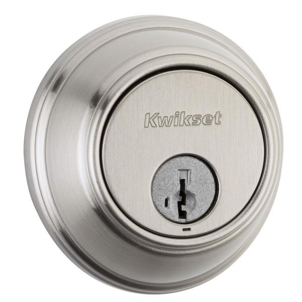 816 Satin Nickel Key Control Single Cylinder Deadbolt Featuring SmartKey Security