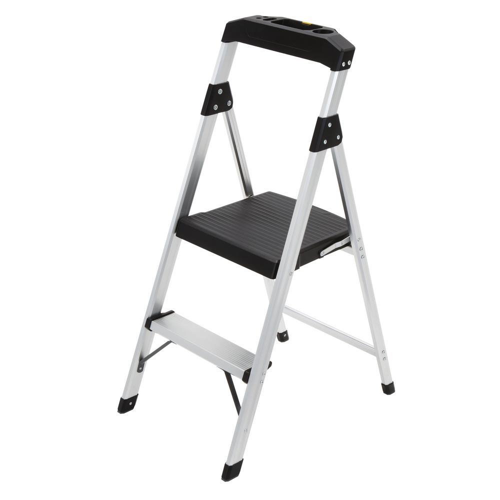 2-Step Aluminum Step Stool Ladder with 225 lb. Type II Duty Rating  sc 1 st  The Home Depot : ace hardware step stool - islam-shia.org