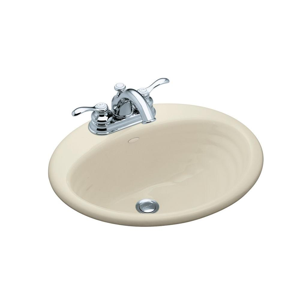 Kohler ellington drop in cast iron bathroom sink in almond with overflow drain k 2906 4 47 the Kohler cast iron bathroom sink