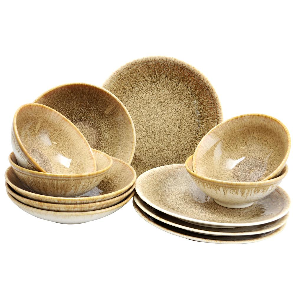 Elite 12-Piece Ombr Chestnut Double Bowl Dinnerware Set