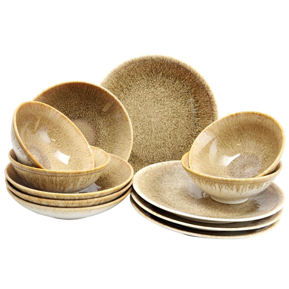 GIBSON elite Elite 12-Piece Ombr Chestnut Double Bowl Dinnerware Set 985104988M