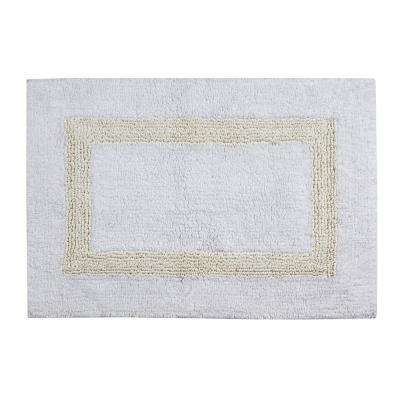 Hotel Collection White and Ivory 21 in. x 34 in. Cotton Bath Rug