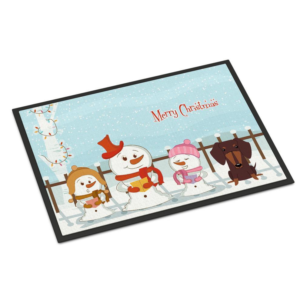 18 in. x 27 in. Indoor/Outdoor Merry Christmas Carolers Dachshund Chocolate Door Mat
