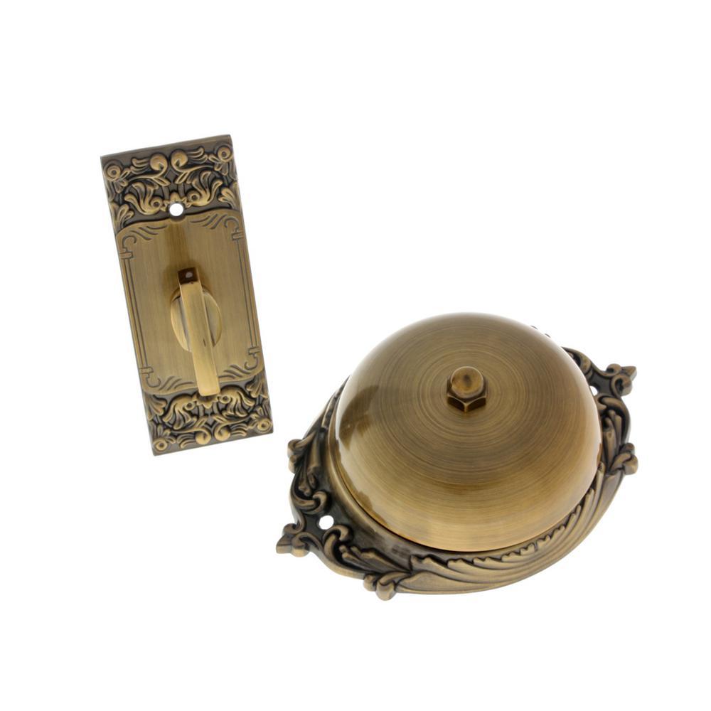 Solid Brass Craftsman Mechanical Twist Door Bell in Antique Brass