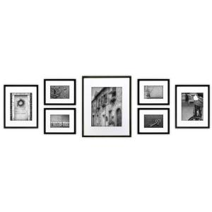 gallery perfect 7 piece black wood photo frame wall gallery kit