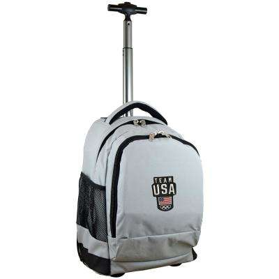 Olympics Team USA Wheeled Premium Backpack in Gray Duffel Bag