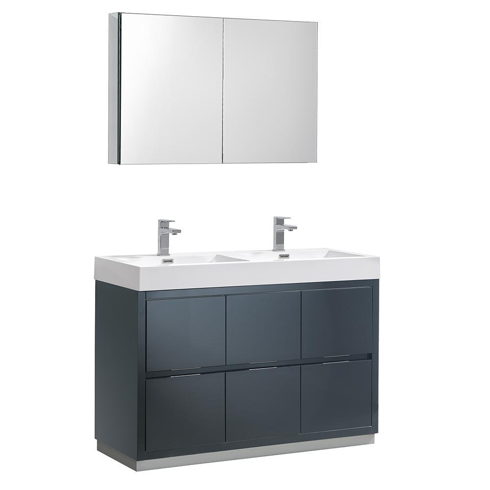 Vanity Dark Slate Gray Acrylic Double Vanity Top White
