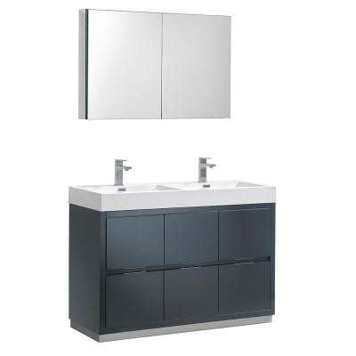 Bon W Vanity Dark Slate Gray With Acrylic Double Vanity Top In White