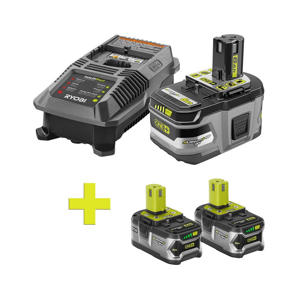 Ryobi 18-Volt ONE+ LITHIUM+ Charger & 3 Batteries
