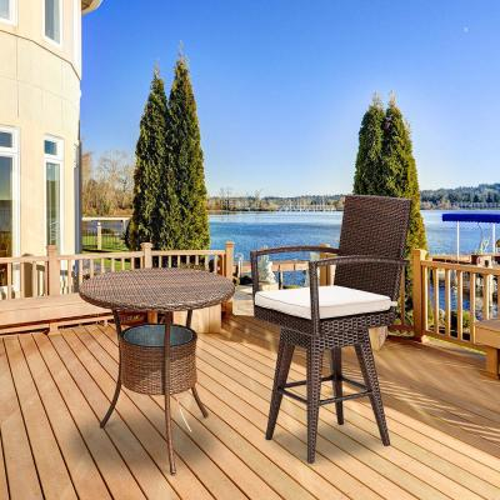 Wicker Swivel Armchair Patio Outdoor Bar Stool with Beige Cushions