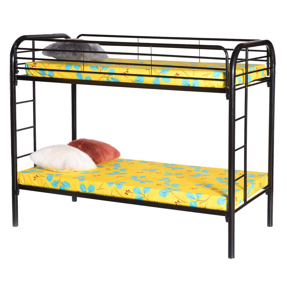 Twin Over Black Twin Metal Bunk Bed With Double Ladder Qi003526b The Home Depot