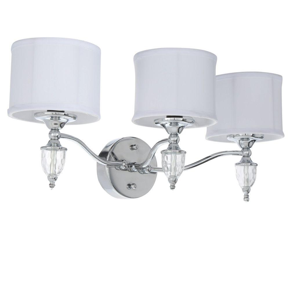 Waterton 3 Light Chrome Sconce With White Fabric Shades