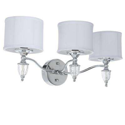 Waterton 3-Light Chrome Sconce with White Fabric Shades