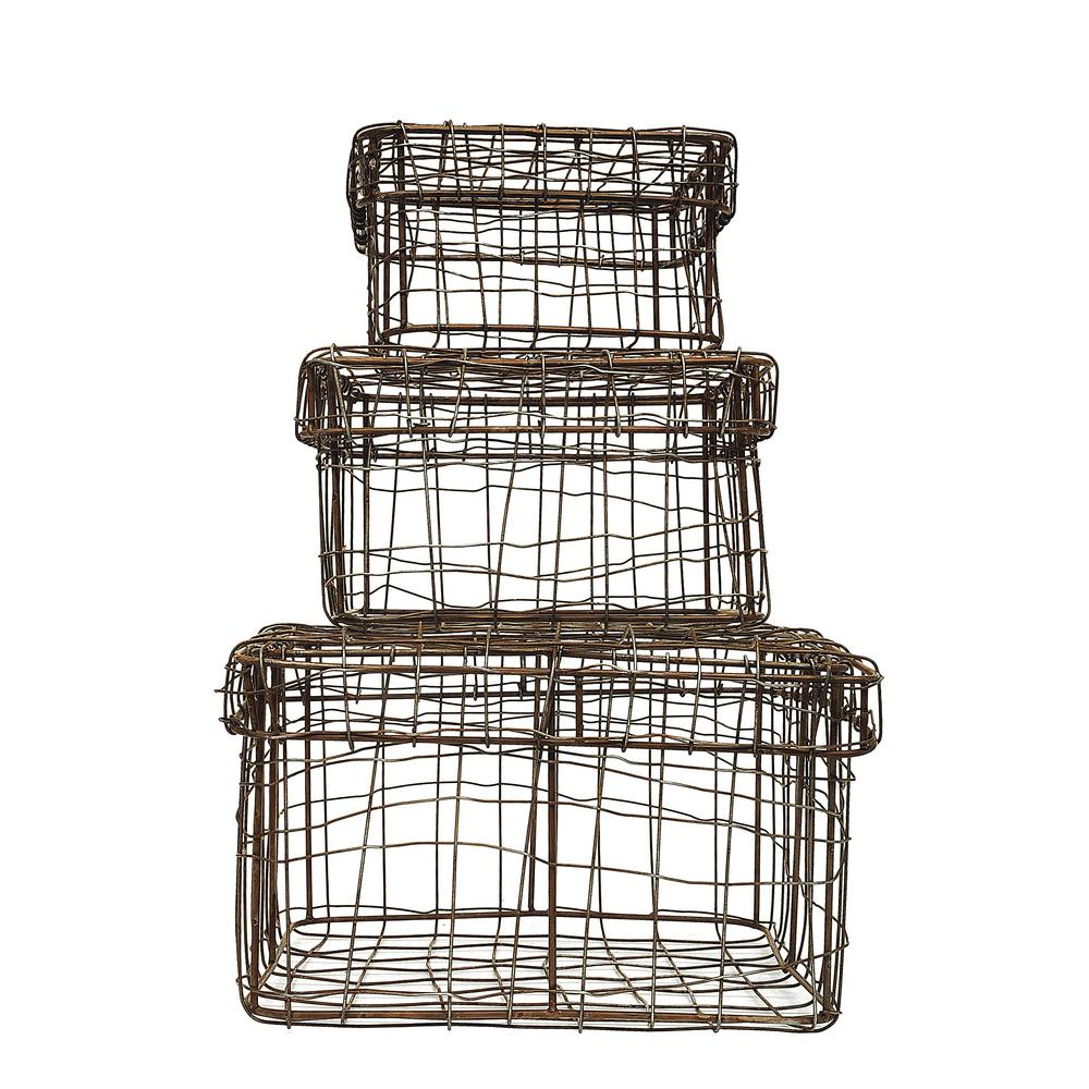 8-1/2 in. Square Iron Wire Baskets with Lids (Set of 3)-DA4066 - The ...