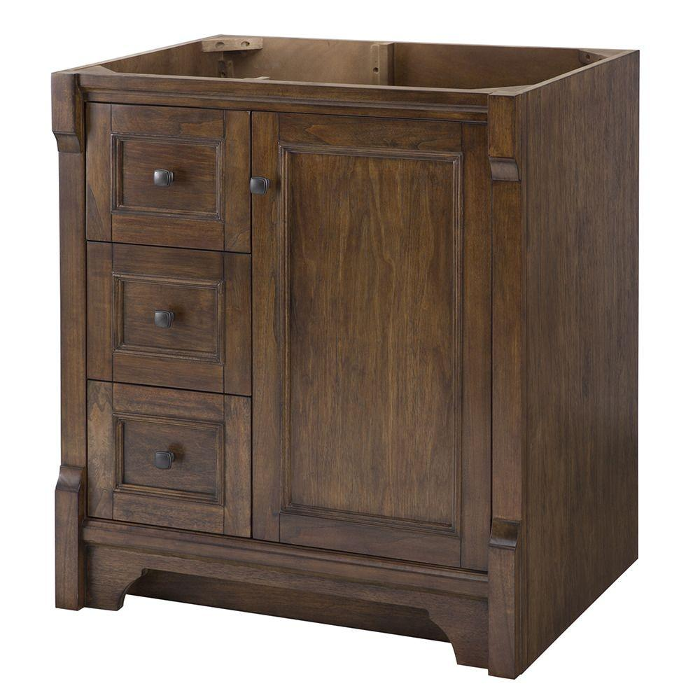 home decorators collection creedmoor 30 in w x 34 in h vanity cabinet only in walnut cdnv3021l. Black Bedroom Furniture Sets. Home Design Ideas