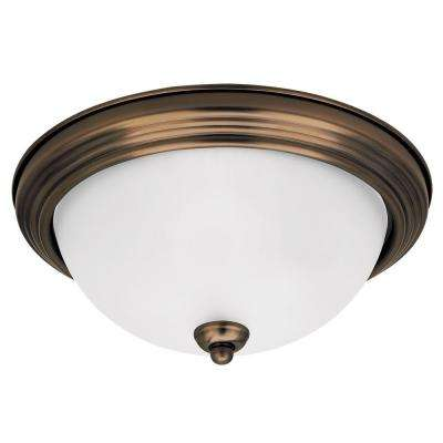 1-Light Russet Bronze Ceiling Flushmount with Satin Etched Glass