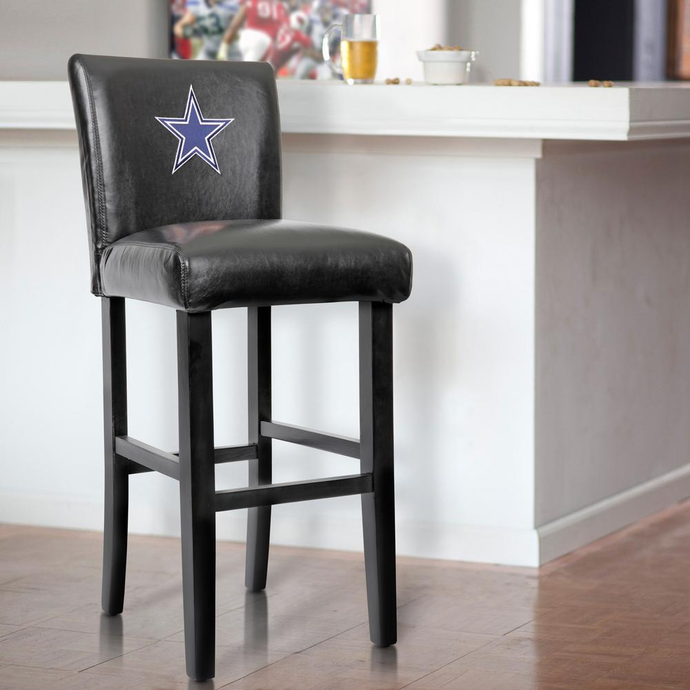Dallas Cowboys 30 in. Black Bar Stool with Faux Leather Cover