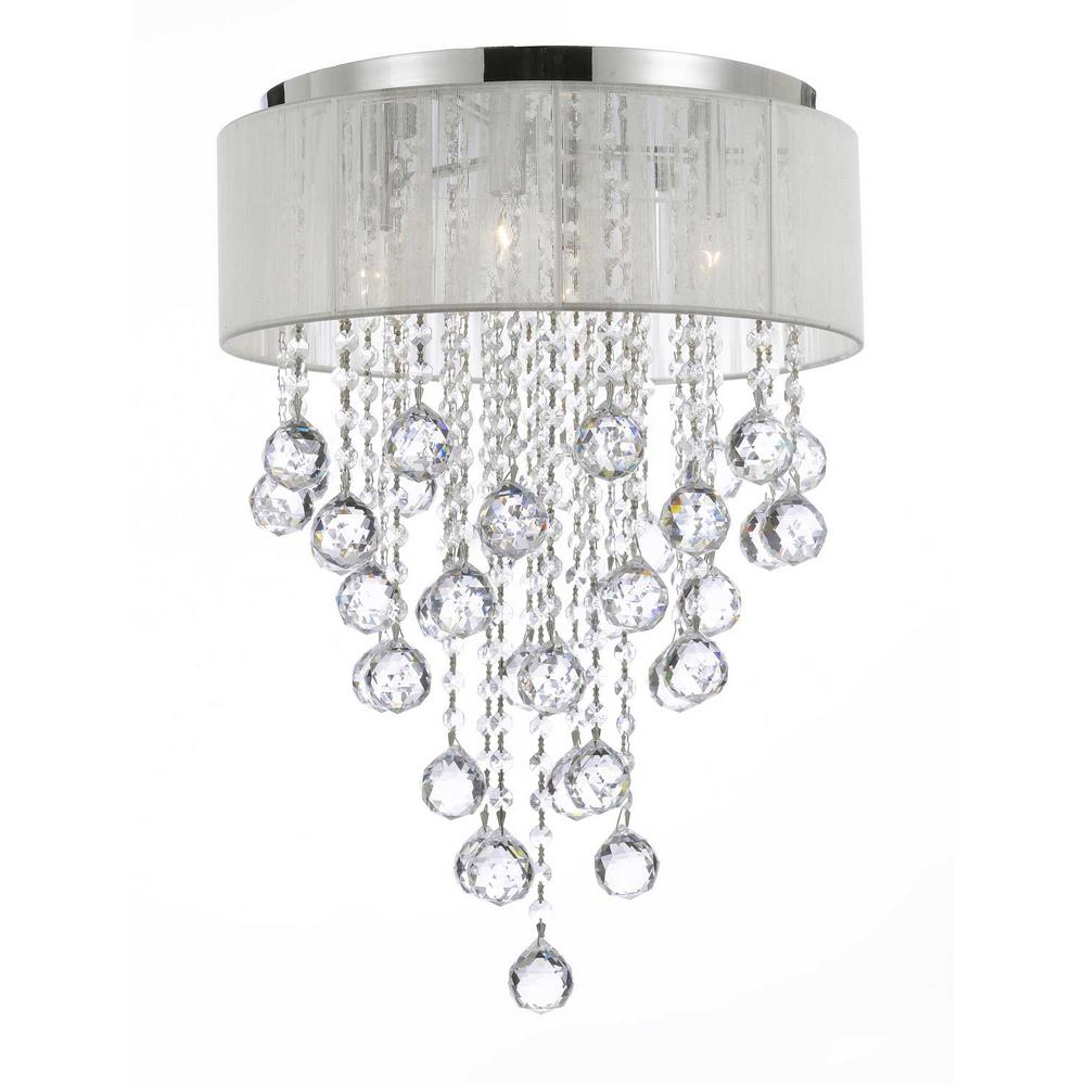 Empress Crystal 4 Light Chrome Flushmount Chandelier With White Shade And 40 Mm