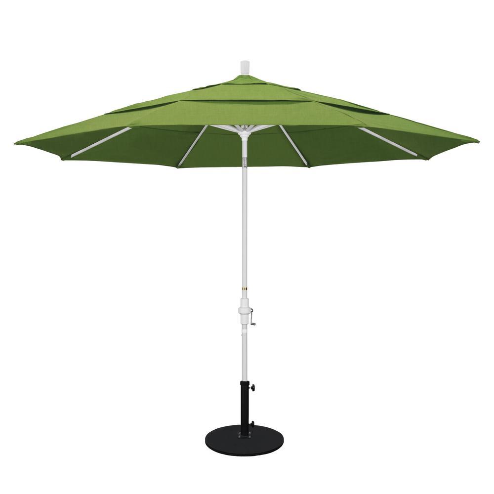 California Umbrella 11 Ft White Aluminum Pole Market Aluminum Ribs Crank Lift Outdoor Patio Umbrella In Spectrum Cilantro Sunbrella Gscu118170 48022 Dwv The Home Depot